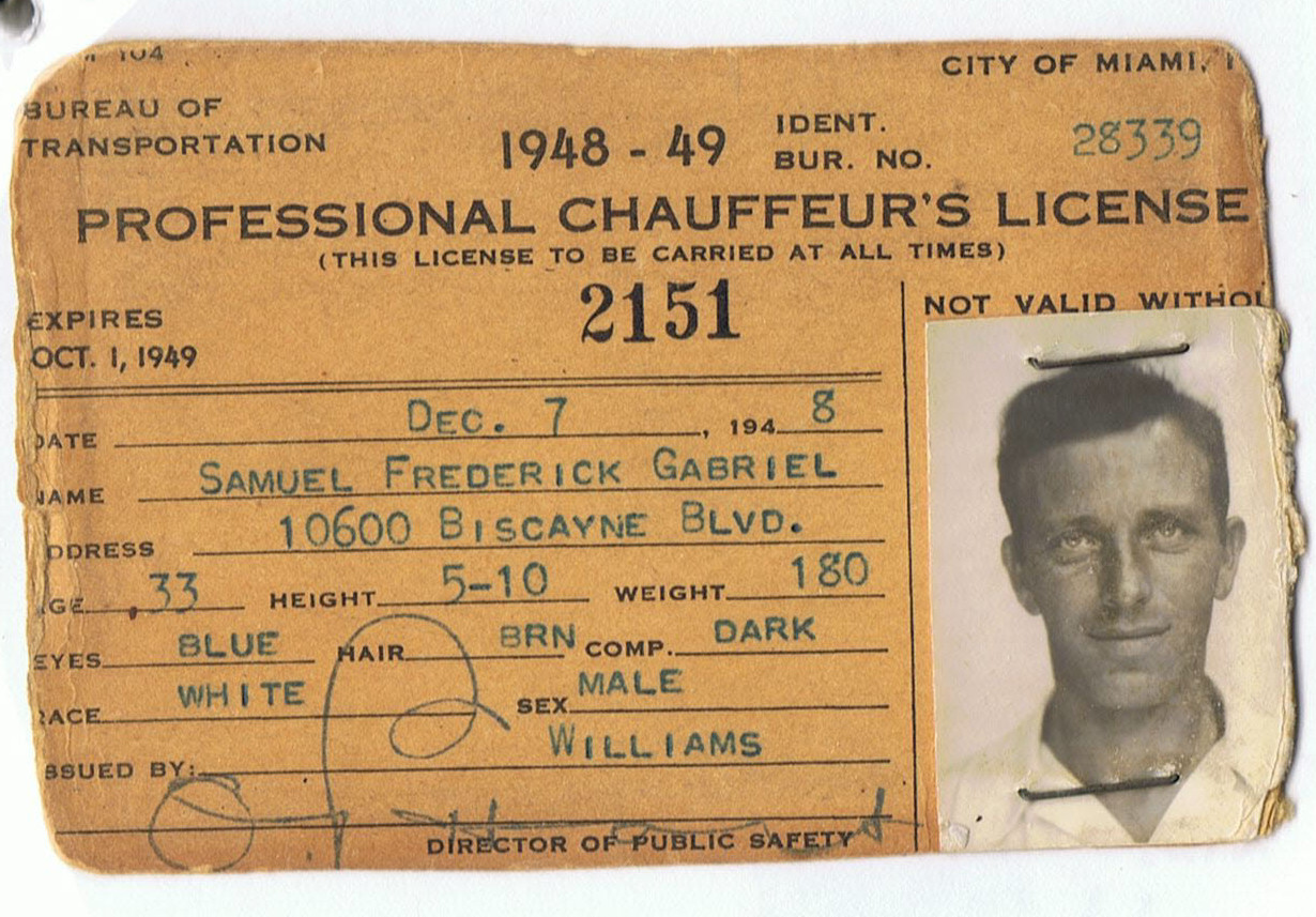 Sam Gabriel's Chauffeur's License - 1948.jpg